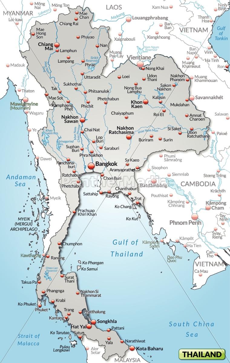 Thailand Karte.Lizenzfreie Vektorgrafik 10655081 Karte Von Thailand Als übersichtskarte In Grau