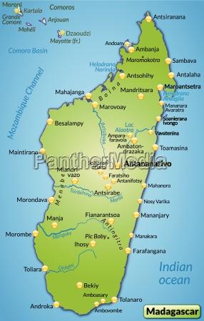 umgebungskarte von madagaskar als UEbersichtskarte in