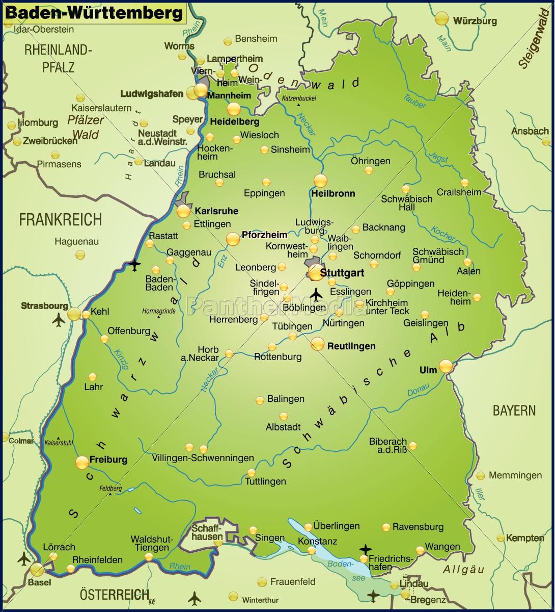Baden Württemberg Karte.Lizenzfreie Vektorgrafik 10655381 Karte Von Baden Wuerttemberg Als übersichtskarte In Grün