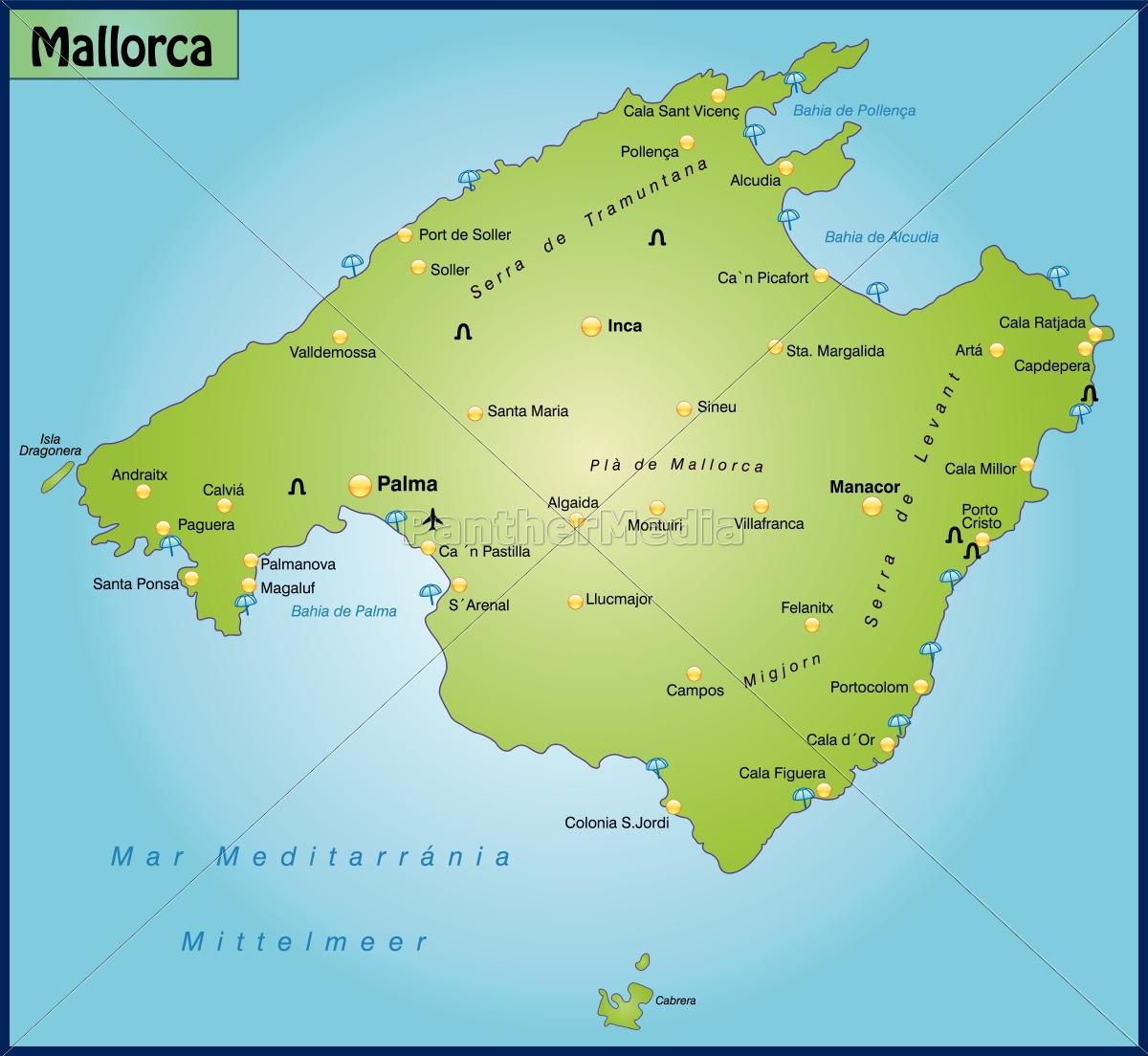 Mallorca Karte Alcudia.Lizenzfreie Vektorgrafik 10656045 Karte Von Mallorca Als übersichtskarte In Grün