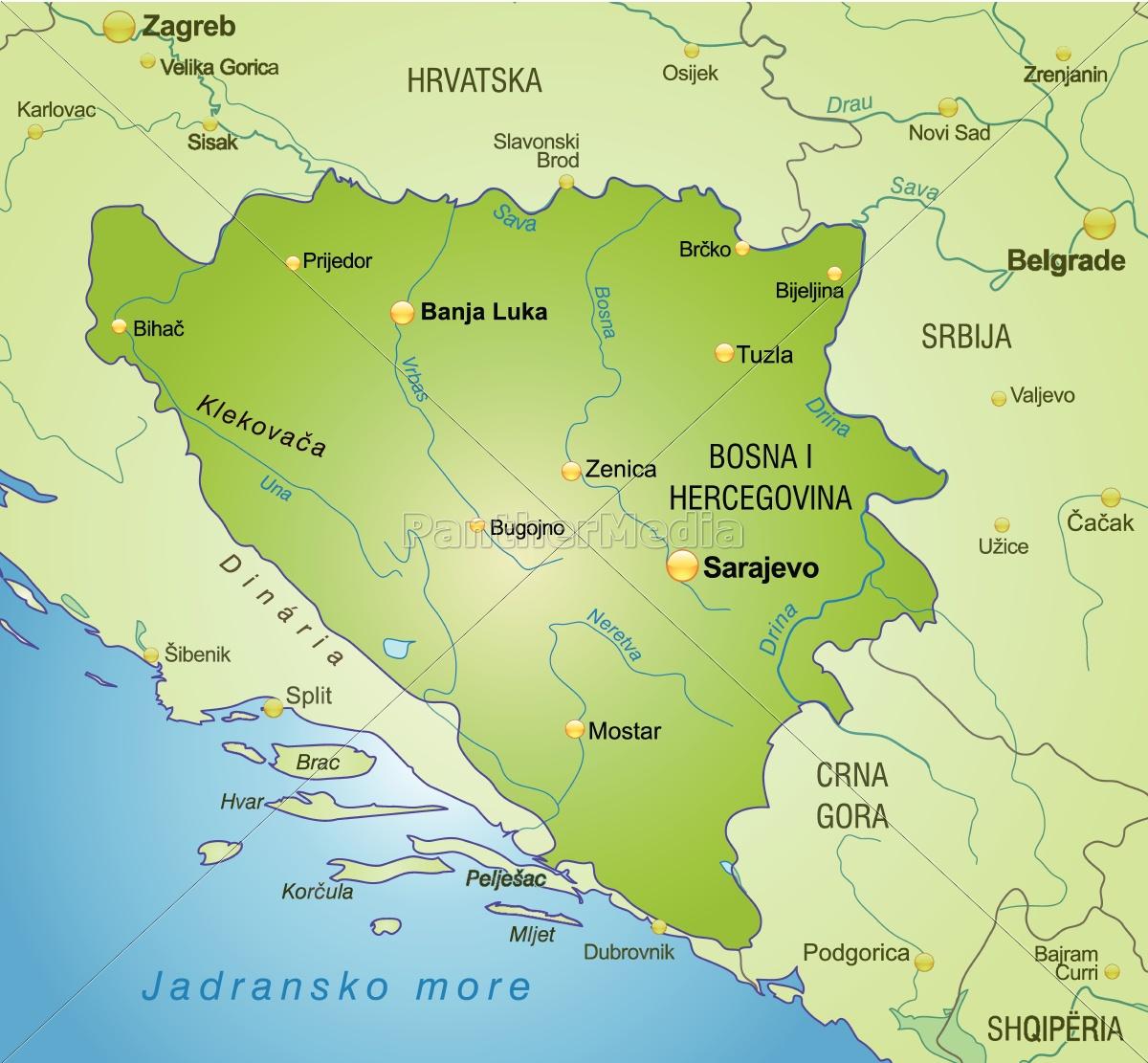 bosnien karte Karte von Bosnien Herzegowina als Übersichtskarte in