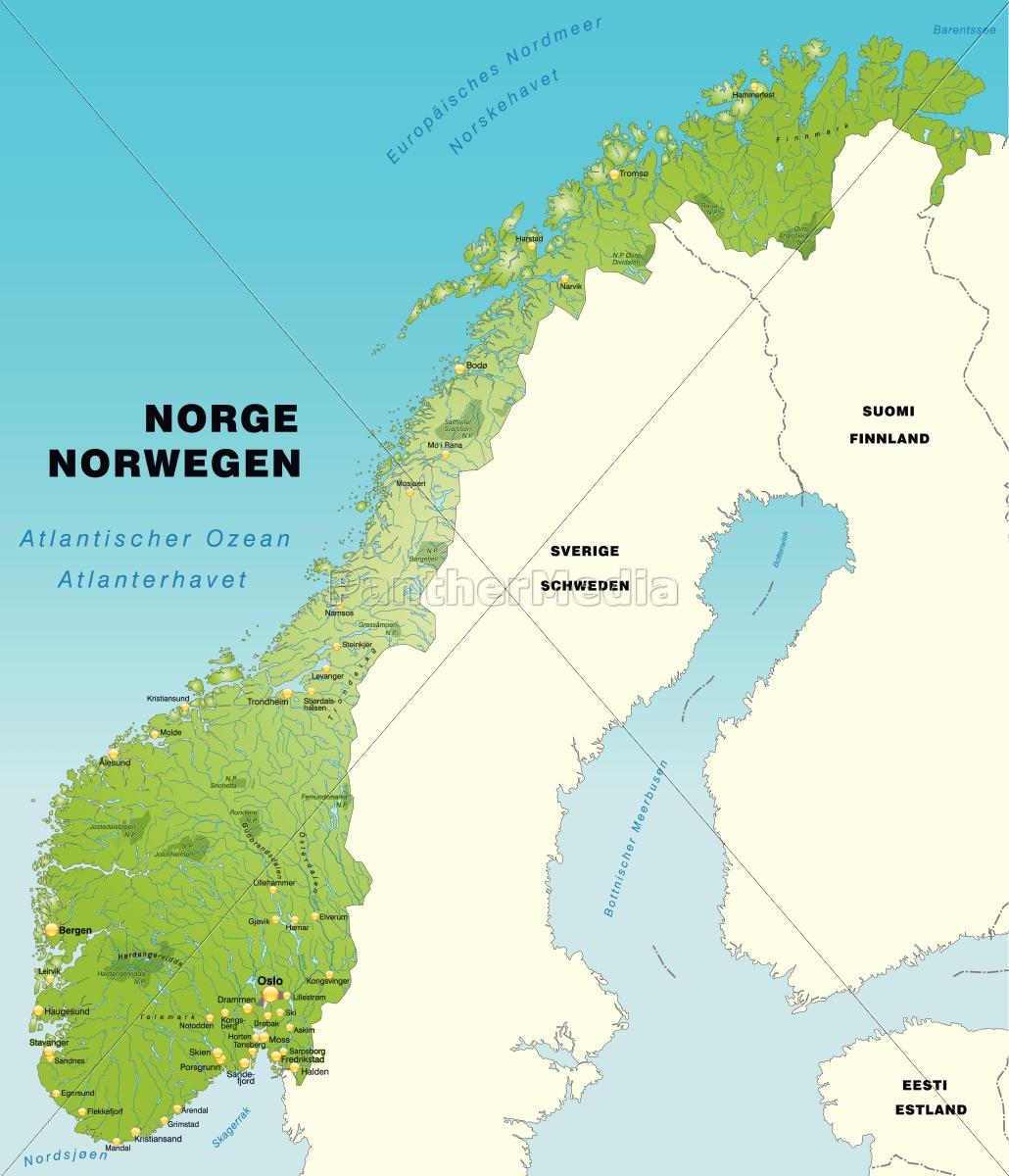 Karte Norwegen.Lizenzfreie Vektorgrafik 10656107 Karte Von Norwegen Als Ubersichtskarte In Grun