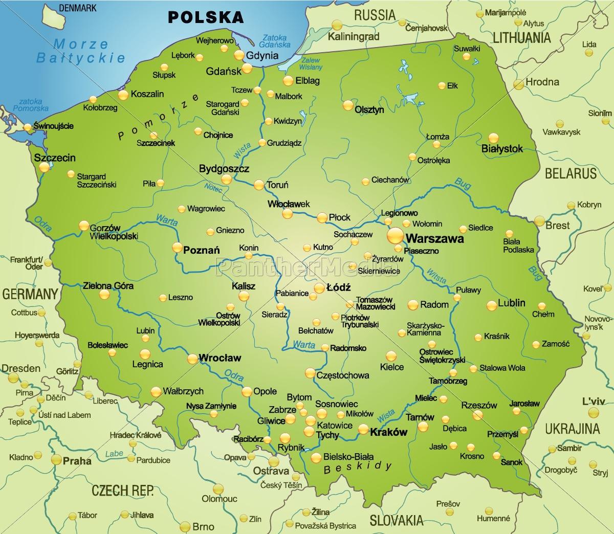 Polen Karte.Lizenzfreie Vektorgrafik 10656109 Karte Von Polen Als übersichtskarte In Grün