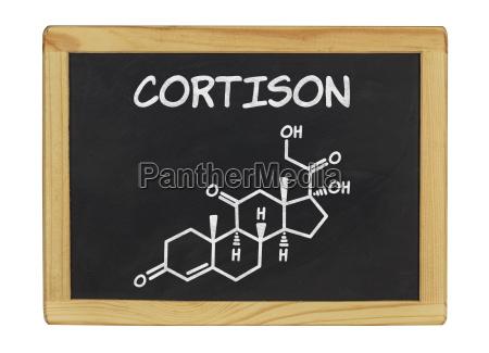 chemische strukturformel von cortison auf einer