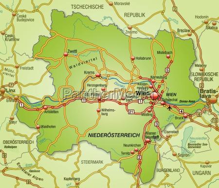 karte von niederoesterreich mit verkehrsnetz