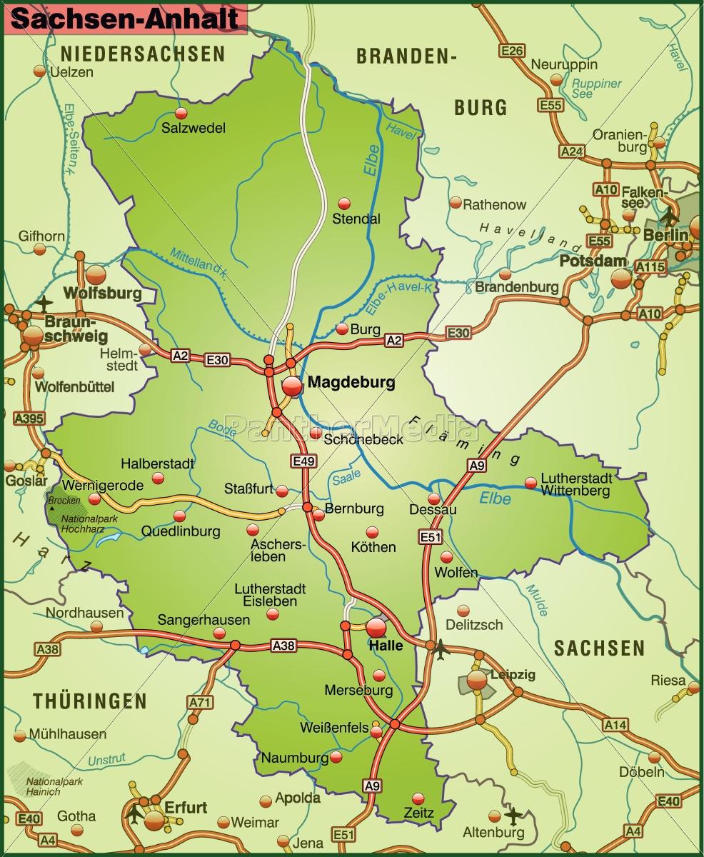 Karte Von Sachsen Anhalt Mit Verkehrsnetz Lizenzfreies Bild