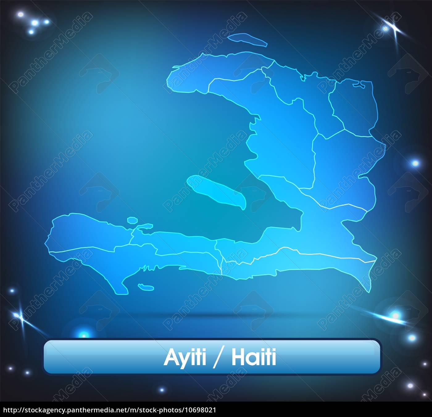 Haiti Karte.Stockfoto 10698021 Karte Von Haiti Mit Grenzen In Leuchtenden Farben