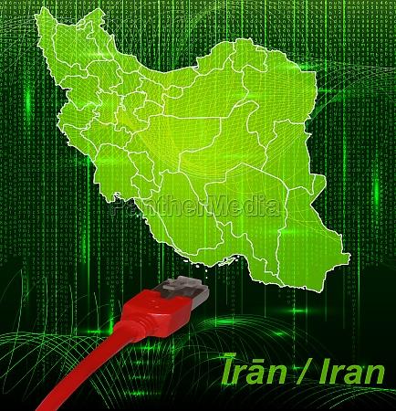 karte von iran mit grenzen im