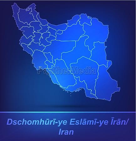 karte von iran mit grenzen als