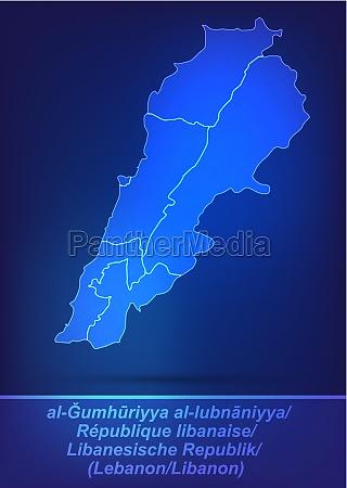 karte von libanon mit grenzen als