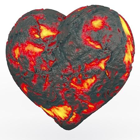 lava heart heart made of fiery