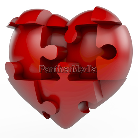 red puzzle piece heart heart divided