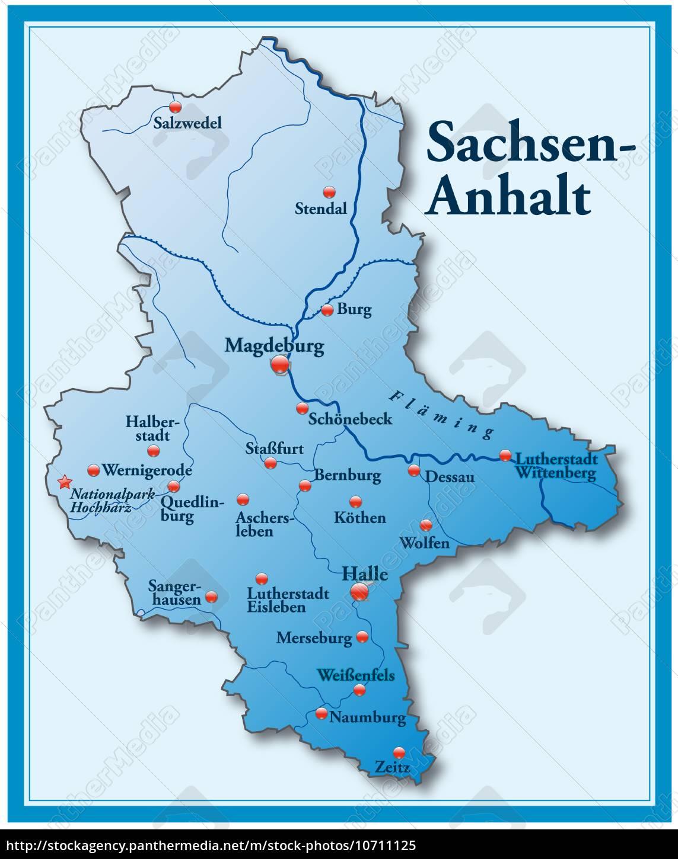 Karte Von Sachsen Anhalt Als Ubersichtskarte In Blau Stockfoto