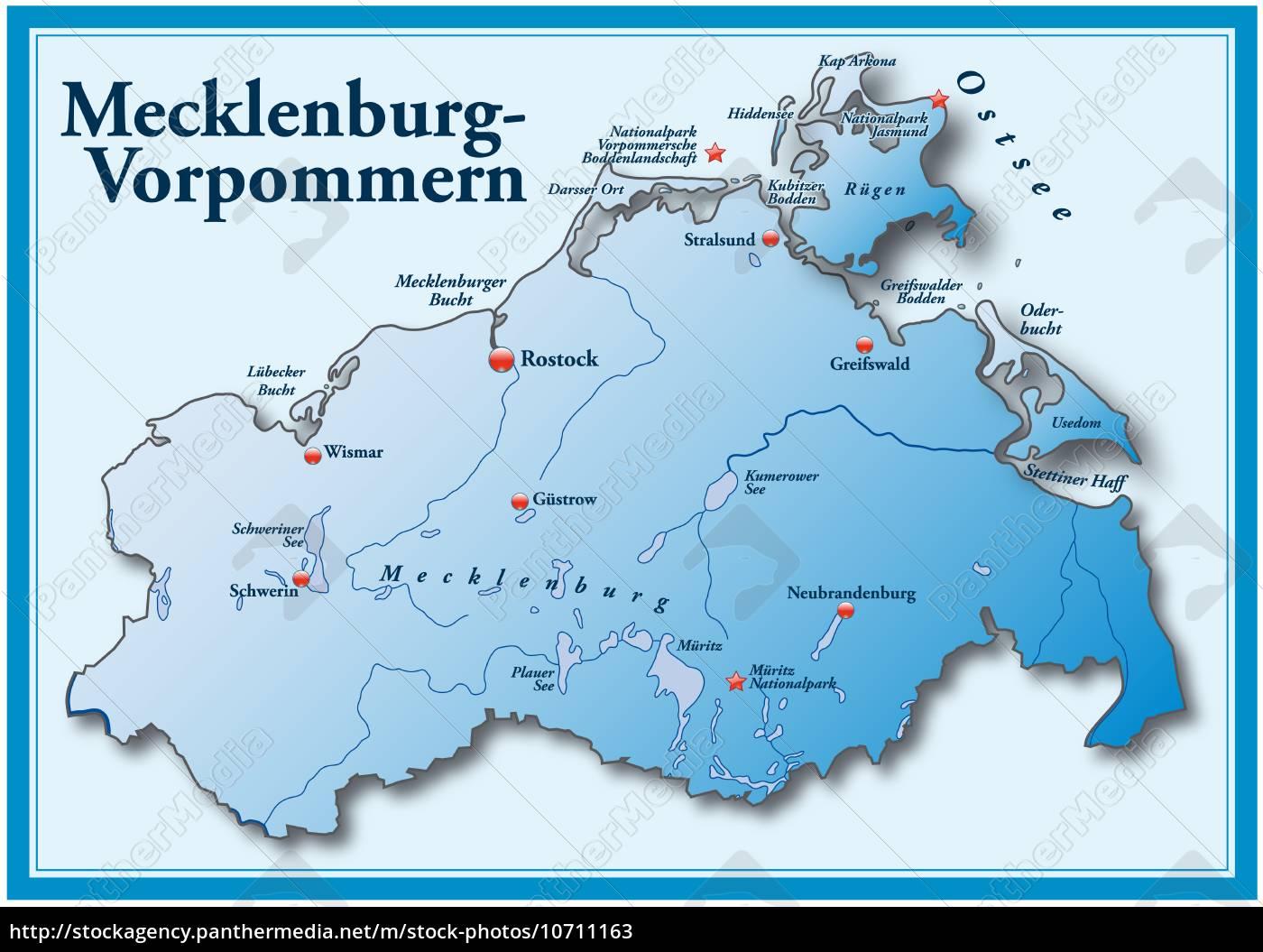Karte Von Mecklenburg Vorpommern Als Ubersichtskarte