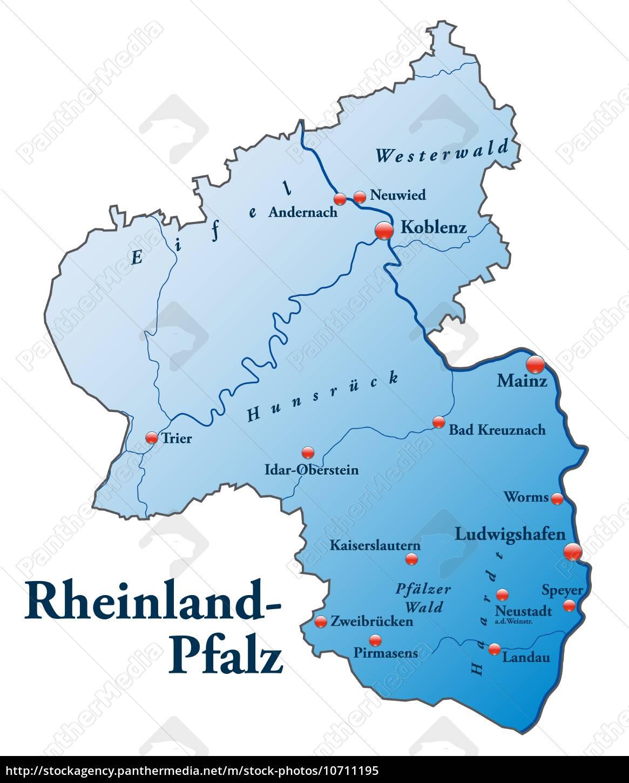 Karte Von Rheinland Pfalz Als Ubersichtskarte In Blau