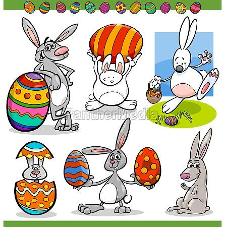 easter bunnies set cartoon illustration