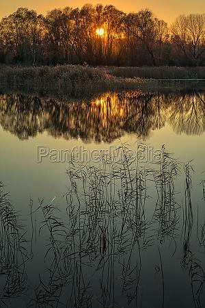 winter sonnenuntergang reflexion abendrot reflektion daemmerung