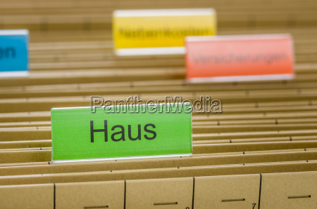 hanging folders labeled house