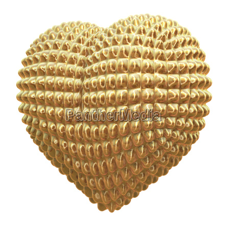 golden reflecting metal heart with knobs