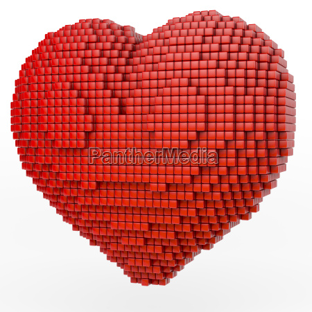 red heart made of small cubes