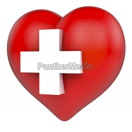 red shiny heart with white cross