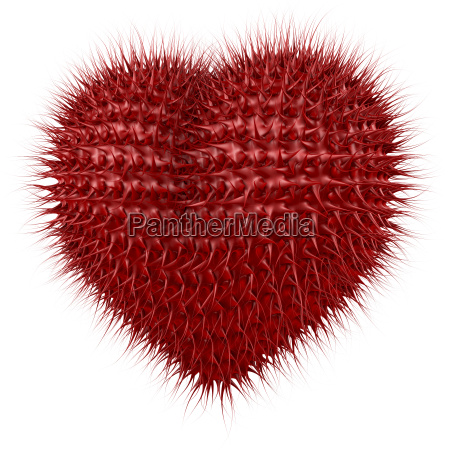 red shiny heart with tentacle like