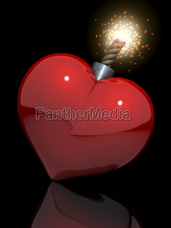 red glossy heart in a classic