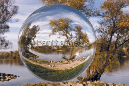landscape in the glass sphere