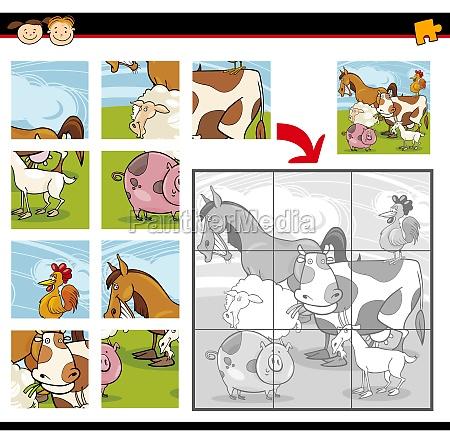 cartoon farm animals jigsaw puzzle