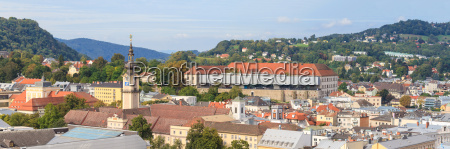 linz cityscape with schlossmuseum and tower