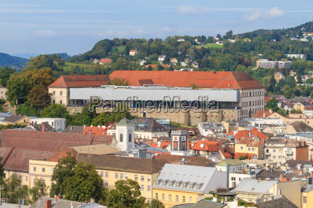 linz cityscape with schlossmuseum and old