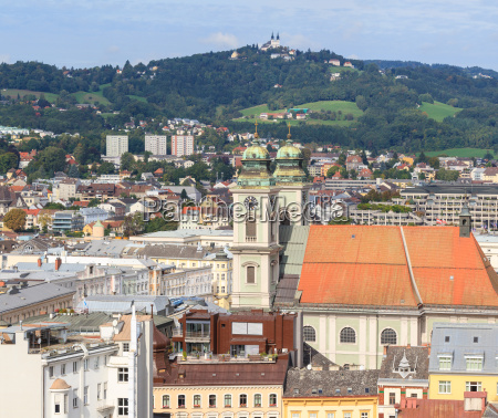 linz cityscape with old cathedral and