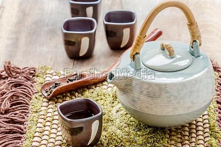 tasse tee und teekanne auf holz