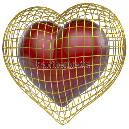 red heart in golden cage