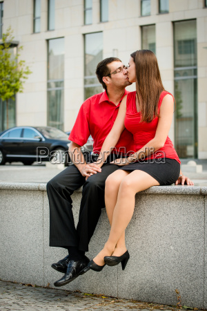 happy together young couple kissing