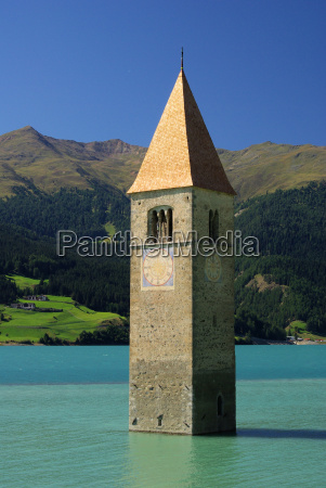 reschensee with church reschensee with