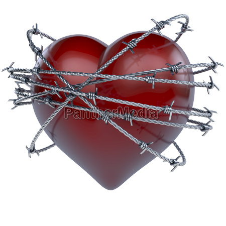 red shiny heart crowned wrapped surrounded