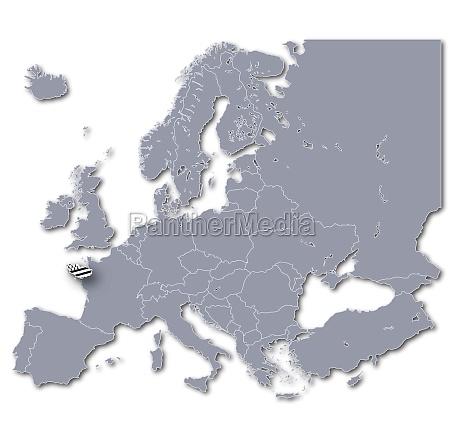 europakarte mit der bretagne