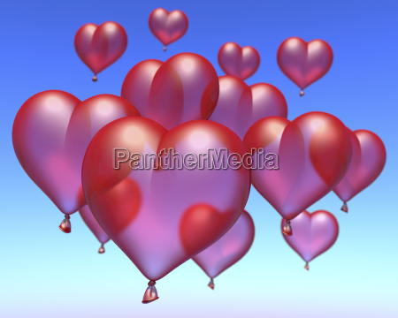 red ballon hearts floating under blue