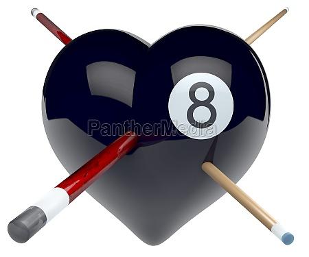 billiard ball heart magic eight ball