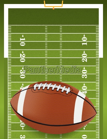 realistic football on textured football field