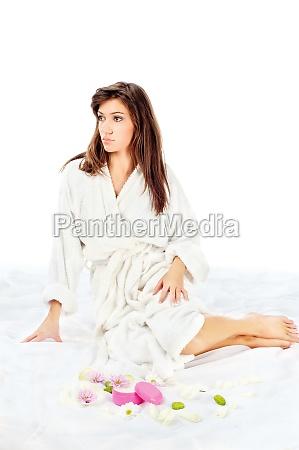 spa woman in bathrobe