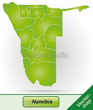 karte von namibia mit grenzen in