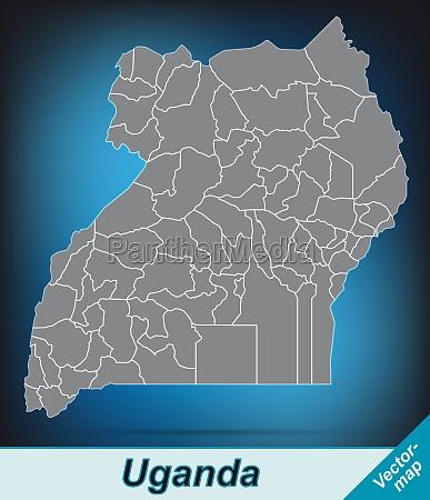 karte von uganda mit grenzen in