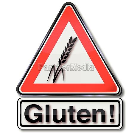 schild achtung gluten