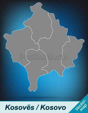 karte von kosovo mit grenzen in