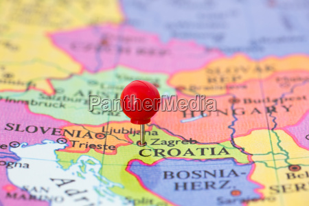 red pushpin on map of croatia