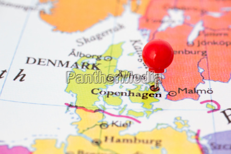 red pushpin on map of denmark