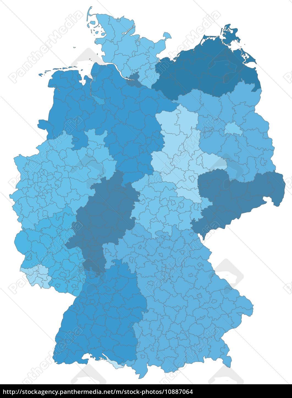 deutschlandkarte blau Karte von Deutschland mit Grenzen in Blau   Lizenzfreies Foto