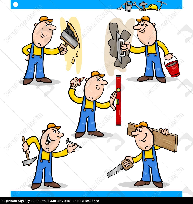 Handwerker zeichnung  handwerker oder arbeiter zeichen gesetzt - Stock Photo - #10893770 ...